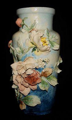 "19"" French Barbotine  Majolica Vase by My Beautiful Barbotine, via Flickr"