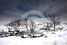Scenic landscape of snowy Highlands in winter between Lairg and Athnahara, Scotland.
