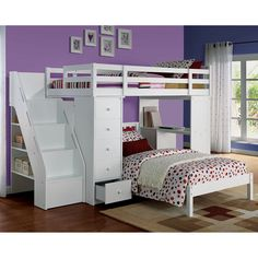 Acme Furniture Freya Loft Bed and Bookshelf Ladder - White | from hayneedle.com