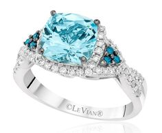 Le Vian may specialize in chocolate diamonds, but this Caribbean blue aquamarine is just as gorgeous.