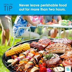 Keep food safe when grilling this summer. Never leave perishable food outside of the refrigerator for more than two hours. When the air temperature is above 90*, don't leave food out for more than an hour. Click the image for more food safety tips!