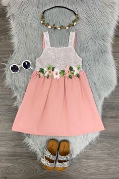 Change up her look in this breezy Silver Sequin Flower Tank Dress. Adorned with summer flowers across her waist. This tank sequin dress is a perfect pick for her best friend's birthday party, event or everyday wear. bullets:Includes: Dress only Cotton Flower Dresses, Tank Dress, Toddler Girl, Kids Fashion, Fashion Images, Kids Outfits, Short Sleeve Dresses, Silver Sequin, Pink