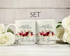 """Mother of the groom and bride gift mug set. Coffee mug for mother of Bride & Groom. Mother in law gift. Thank you gift for mom. Wedding mug.-----------------------------------------You will find 2 mugs in this set, one of them with the """"Mother of the Groom"""" design and the other one with the """"Mother of the Bride"""" design. Handmade design, created just for you! The design is permanently printed on both sides of the mug. Original design by almandol. ♥- size options: white 11oz / white 15oz / whi Mother In Law Gifts, Mother Of The Bride, Presents For Mom, Gifts For Mom, Wedding Mugs, Wedding Set, Engagement Presents, Handmade Design, Mugs Set"""