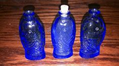LOT OF 3 WHEATON DR. FICH'S BLUE BITTERS FISH BOTTLES