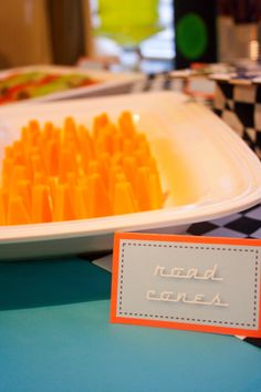 """Cheddar Cheese """"Road Cones"""" for a Race Car Party Monkey Birthday Parties, Race Car Birthday, It's Your Birthday, Hot Wheels Party, Disney Cars Party, Second Birthday Ideas, Race Car Party, Kid Parties, Party Snacks"""