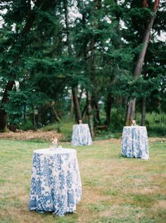 Cocktail tables draped in white and blue damask linens bring some northeastern charm to this green lawn. Slit Wedding Dress, Pronovias Wedding Dress, Western Wedding Dresses, Western Weddings, Informal Weddings, Unique Weddings, Backyard Plan, Rustic Backyard, Outdoor Christmas Decorations