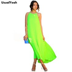 Neon Green Spaghetti Strap Pleated Maxi Dress Beach Bohemian Fluorescence