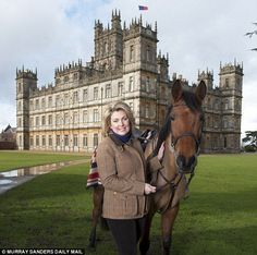 To the manor married: Lady Carnarvon, the real-life equivalent of Downton Abbey's Cora, in front of Highclere.