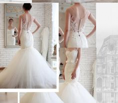 2014 new fashion retro waist big yards trailing fishtail wedding dress lace bridal custom lanyards - Taobao