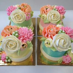 These would be great for a luncheon as edible centerpieces Gorgeous Cakes, Pretty Cakes, Cute Cakes, Yummy Cakes, Amazing Cakes, Fancy Cakes, Mini Cakes, Cupcake Cakes, Mini Tortillas
