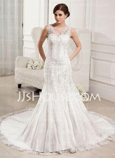 Wedding Dresses - $230.99 - Mermaid V-neck Chapel Train Satin Tulle Wedding Dresses With Lace Beadwork very elegant!