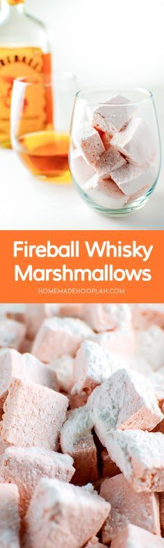 Homemade marshmallows with the spicy kick of the Fireball Whisky tucked within the sweet, sugary fluff. Perfect for boozy s'mores or simply snacking! Recipes With Marshmallows, Homemade Marshmallows, Homemade Candies, Marshmallow Recipes, Just Desserts, Delicious Desserts, Yummy Food, Gourmet Gifts, Food Gifts