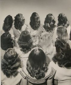 "Teenagers were a recurring subject for Russian-born New York photojournalist Nina Leen, who, as one of the first female contract photographers for LIFE magazine, photographed now-nostalgic images like this one of fashionable hair-dos for young ladies in 1947. (At Daniel Cooney Fine Art in Chelsea through May 16th).Nina Leen, Popular Teenage Shoulder length Hairstyles, 12 x 10"" vintage gelatin silver print, 1947. #popularhairstylesforteenagegirl"