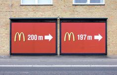 I like how these billboards show distance in more ways than one - however I think it is a little too wasteful of an advertising budget, as they could have covered double the area in which people view these advertisements for the same price.