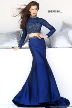 2014 Sherri Hill Long Sleeved Prom Dress 32044 #2015Prom #Dresses #Pretty #Fitted #SherriHill #RedCarpet #Dress #Fashion #Flowy #Elegant
