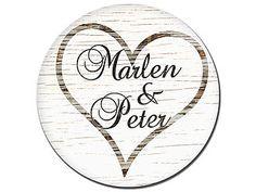 Marlen und Peter rundes Namensschild mit Herzsymbol - Vintage