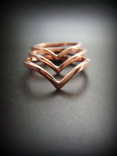 Stackable Copper Chevron Ring Set