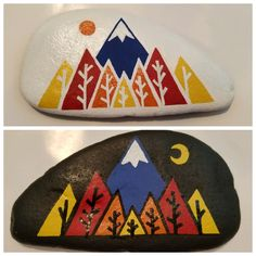 Mountains painted on both sides of rock painted by susan morrow pebble pain Rock Painting Patterns, Rock Painting Ideas Easy, Rock Painting Designs, Pebble Painting, Pebble Art, Stone Painting, Dot Painting, Painted Rocks Craft, Hand Painted Rocks