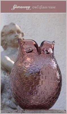 purple owl vase
