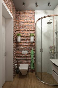 "10 ""Exposed Brick Tiles"" Bathroom Design Ideas Exposed Brick Bathroom - Wall Small Chimney Toilets S Bathroom Tile Designs, Bathroom Interior, Small Bathroom Makeover, Brick Tiles Bathroom, Bathrooms Remodel, Brick Bathroom, Amazing Bathrooms, Bathroom Design, Small Remodel"