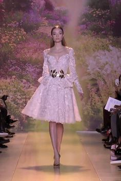 Beautiful Embroidered Off Shoulder A-Lain Tea Length Cocktail Dress with Long Sleeves. Runway Show by Zuhair Murad. Couture Mode, Haute Couture Dresses, Couture Fashion, Runway Fashion, Tea Length Cocktail Dresses, Tea Length Wedding Dress, Modest Dresses, Elegant Dresses, Nice Dresses