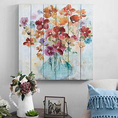 Bright Flowers in Vase Slatted Wood Art Print   Kirklands