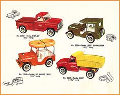 In the look book featured 58 models made up of 9 Tiny Tonka, 13 Mini Tonka, 28 Regular Tonka and 8 Mighty Tonka models. Regular series trucks were redesigned to copy Dodge trucks of the era. Tonka Trucks, Tonka Toys, Dodge Trucks, Dodge Pickup, Vintage Toys, Childhood Memories, Diecast, Boy Or Girl, Jeep