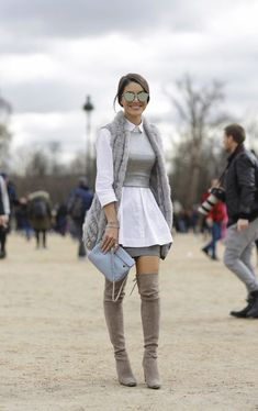 Nice grey outfit for street. Mode Outfits, Stylish Outfits, Fashion Outfits, Womens Fashion, Fashion Boots, Look Fashion, Fashion Models, Fashion Trends, Cheap Fashion