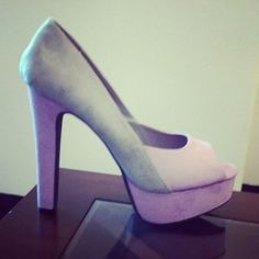 Lavender & Gray Color Block Peep Toe Pumps