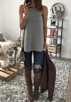 loose fitting grey top   cute jeans