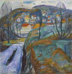 Edvard Munch (Norwegian, 1863-1944), Kragerø om våren [Kragerø in Spring], 1929. Oil on canvas, 98.4 x 95.3 cm.