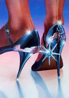 heels of steel Borderlands, Retro Art, Vintage Art, Michael Morris, Futurism Art, 1980s Art, Italo Disco, Retro Futuristic, Airbrush Art