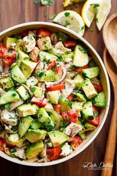 Quick And Simple Chicken Cucumber Avocado Salad is so easy to make! A perfect salad to throw together at any time of the day with NO COOKING!