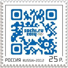 Premier timbre russe avec un #QRCode pour les Jeux Olympiques d'hiver de 2014, émission en 2012 © DR.