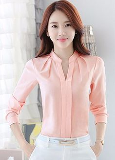 d8e736a94f5c Spring Autumn Women Tops Long Sleeve Casual Chiffon Blouse Female V-Neck  Work Wear Solid Color White Office Shirts For Women