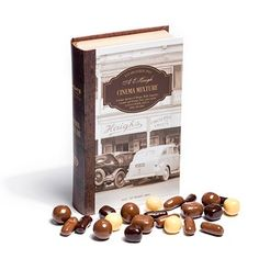This heritage book box contains a unique mixture of Mango, Malt, Liquorice, Caramel and Orange Chocs, pan coated in layers of milk, dark or white chocolate. #haighs #gifts #chocolate #Haighs100 #EnjoyedForGenerations