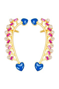 Blue Heart Earcuffs with Pink Stones. Shop earrings and women's accessories at Bazzzar.com