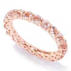 83 - Gem Treasures 14K Gold Morganite Eternity Band Ring