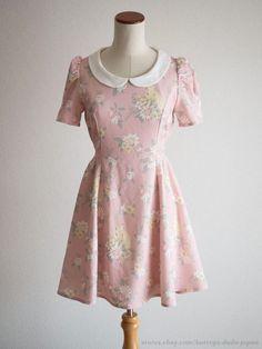 LIZ LISA Penderie Rabbit in Floral Field OP Dress Pink Romantic Lolita Japan #LIZLISAPenderie #Peplum #Shibuya109Lolitafashion