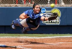 Our version of Superwoman. (What an awesome pic!) #softball #catching. DePaul catcher Jackie Tarulli-Fisher diving for a popped up bunt attempt by Washington's Alicia Matthews.