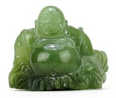 VINTAGE CARVED JADE CHINESE BUDDHA
