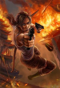 Lara Croft points her gun at you and jumo towards to you with the burning Tempels behind her EPIC TOMB RAIDER 2013 Wallpaper Tomb Raider Video Game, Tomb Raider 2013, Tom Raider, Tomb Raider Lara Croft, Rise Of The Tomb, Fan Art, Video Game Art, Geeks, Character Inspiration