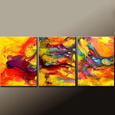 Abstract Canvas Art Painting 3pc 72x30 Contemporary by wostudios, $349.00