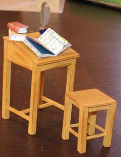 template for traditional wooden miniature desk and stool