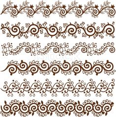 Six different Mehndi Border Design,very easy to edit,you can make your pattern from this.
