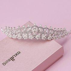Brillante elegante lleno de cristal granos de la perla adornó nupcial accesorios de la boda tiaras pelo de la corona accesorios pelo de la novia 0003