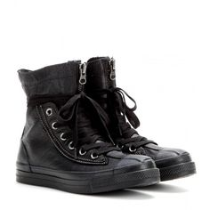 Converse Chuck Taylor All Star Combat Boots ($78) ❤ liked on Polyvore featuring shoes, boots, sneakers, converse, black, black army boots, black military boots, black boots, converse shoes and military boots
