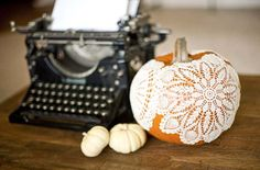 Liquid starch, a handful of doilies, and a little time are all you need to make this pretty pumpkin decoration.