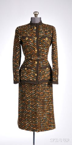 Vintage Chanel Skirt Suit, 1960s-70s, multicolored tweed in brown, blue, and orange hues