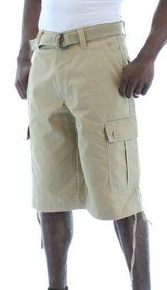 4bd6717a91bd Moda Essentials Men's Belted Cotton Cargo Shorts Long Brown Size 38